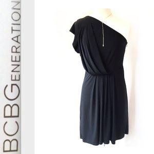 BCBGeneration one shoulder pleated dress —Black